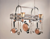 A Hanging Pot Rack With Lights
